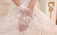 Free Shipping 2012 wedding formal dress yarn gloves the bride wedding gloves wedding short design white