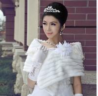 Free Shipping Wedding wrap 2012 white thermal fur shawl bride wedding fur shawl