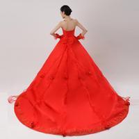 Free Shipping 2012 wedding fish tail train princess wedding dress red