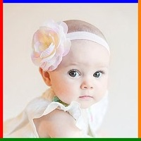Sunshine store #2B2251  10 pcs/lot  2012 new cute cream pink baby headband  infant headdress big flower elastic hairband  CPAM