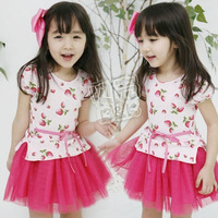 wholesale 5pcs/lot - summer sweet strawberry paragraph girls clothing baby yarn one-piece dress qz-0097