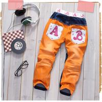 wholesale 5pcs/lot - autumn ab letter children's pants baby trousers patchwork child jeans 19c5822