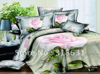 discount 100% cotton queen duvet cover bedding 5pcs pink floral green leaves prints design comforter sets with inside filler