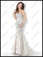 Gorgeous Strapless 2012 Heavy Beadings Mermaid Prom Dress 3008