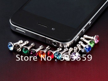 Clear 3.5mm Crystal Diamond Headset Dust ear Cap Plug for  Iphone 4 /5 For  Ipad small cool gadgets 100pcs/lot Freeshipping