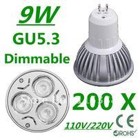 200pcs Dimmable High power GU5.3 3x3W 9W 110V/220V led Light Lamp Downlight led bulb spotlight Free shipping UPS FEDEX and DHL