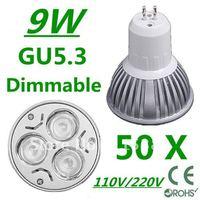 50pcs Dimmable High power GU5.3 3x3W 9W 110V/220V led Light Lamp Downlight led bulb spotlight Free shipping UPS FEDEX and DHL