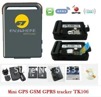 mini portable personal/car gps tracker TK106+real-time tracking+car charger+free shipping