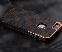 2013 HOT! Brown Gold Leather Luxury Grid Hard Case Cover for  iPhone 5S 5G