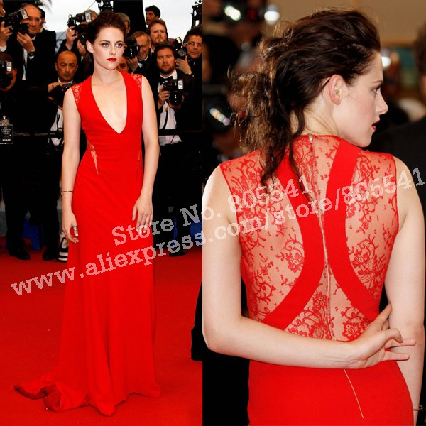 Sexy Red Kristen Stewart A-line Deep V-neck Lace Chiffon Satin Long Evening Dresses/Celebrity Dress CBD12102408(China (Mainland))