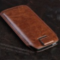 LUXURY BROWN PU PULL TAB LEATHER CASE COVER FOR IPHONE 5