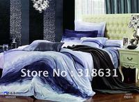 cotton blue duvet cover sets simple design pattern Super Soft 5pcs comforter bedding sets queen size bedsheet pillowshames