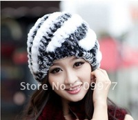 Woman's Winter Rex Rabbit fur KaTu Fur Otter Knitted Striped cap beret  Hat Gorro Beret