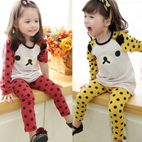 2012 autumn and winter polka dot baby girls clothing long-sleeve T-shirt long trousers set 5243