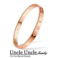 Classic Style!!! FREE SHIPPING 14K Rose Gold Plated Titanium Steel Rhinestone LOVE Design Timelessness Lady Bangles Bracelets