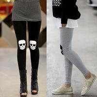 2012 spring and autumn skull knee elastic slim legging