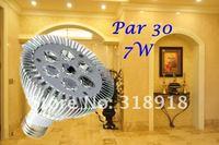 Free Shipping  Hot selling ! 10pcs/lot  7W Par 30 LED Lamp Bulb E27 Spot Light Cool/ Pure / Warm White 100-240V