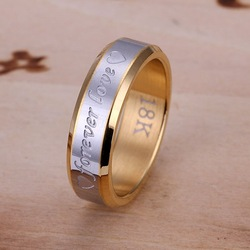 R095 Forever Love Factory Price High Quality Free Shipping Silver Ring Fashion Jewelry 18K Gold Golden for men(China (Mainland))
