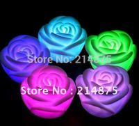 100pcs/Lot,Seven Color  Rose Flower Led Candle ,4*6.2*6.2cm