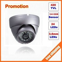 """1/4"""" Sharp CCD 420tvl 24leds Security IR 15m indoor/outdoor metal housing dome camera . free shipping free shipping"""