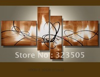 4 panel canvas wall art abstract modern brown oil Paintings set on canvas for living room wall free shipping to  Russia USA