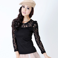 2012 autumn women's gauze top long-sleeve T-shirt slim cutout lace basic shirt female long-sleeve