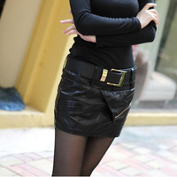 2012 autumn and winter women slim PU skirt short skirt slim hip bust skirt
