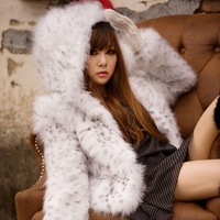 Free shipping, 2012 autumn and winter white fox fur leopard print sploshes hooded fur coat fur overcoat