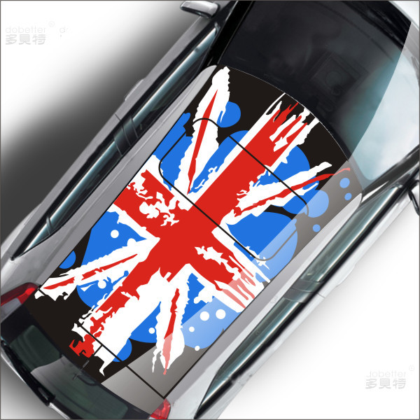 Free Shipping Fashion Roof graffiti version Reflective of the British Union Jack flag stickers drawing flowers,Hollow sculpture(China (Mainland))