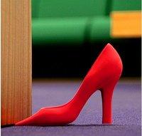 Whosale 10Pcs/lot High Heel Shoe Plastic Door Stop Wedge Stopper Foot in the Door Doorstop Black