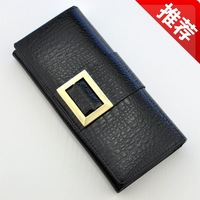 Free shipping Women's wallet genuine leather long design japanned crocodile pattern purse 1025