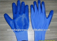 Free Shipping! Wholesale XD 12 Pairs/Dozen  Nylon Knitted Zebra-stripe Nitrile Coated Working Gloves/Safety Protective Gloves/