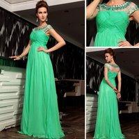 Free shipping 2013 Tencel Chiffon Green Color Beaded Homecoming Dresses D30682