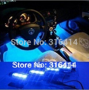 New! 4x 3LED Blue Interior lamp Interior light  foot light car decorative 4in1 12V LED lights