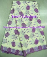 Cheap Quality swiss lace fabric with free shipping by DHL,promotion lace low price PL1048 yellow/purple