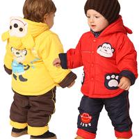 Winter baby clothes children's clothing newborn thickening child cotton-padded jacket set cotton-padded jacket baby wadded