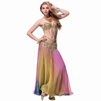 Belly dance set costume luxury beaded set bra cummerbund skirt accessories shoes