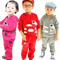 Male female child velvet cartoon top long trousers baby fashion sports set
