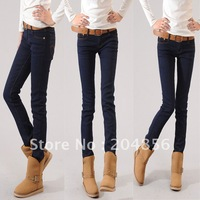 free shipping elastic plus velvet thickening plus size plus size jeans female mm basic skinny pants