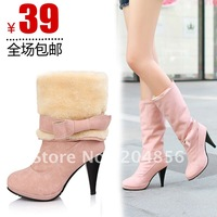free shipping Female shoes fashion high-heeled high-leg boots medium-leg boots platform snow boots