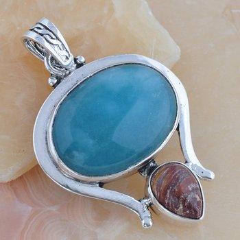 The New 2013 Semi Precious Stone Blue Larimar And Snake skin Jasper  925 Silver Jewerly   Necklaces Pendants p-225