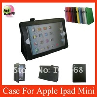 For Ipad Mini leather case,leather case for ipad mini,wake/sleep function,free shipping,Black