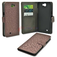 Stand HoneyComb Leather Case Card Bag Skin For Samsung Galaxy Note 2 II N7100 Free Shipping