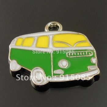 Wholesales New Arrived Enamel Charm Cute Green Yellow Bus Charm Pendant 20PCS 36202 19*14*2mm