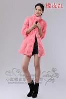2014 stand collar medium-long rabbit fur coat , fox fur vest outerwear 0012
