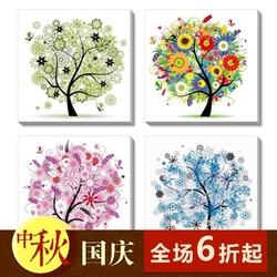 개구리 사계절 행복 나무 현대 간단한 벽화를 그림 사진 프레임 ...