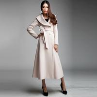 2014 spring autumn winter female big turn-down collar woolen outerwear ultra long woolen coat slim long-sleeve long trench WTP3