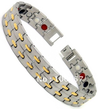 Stainless steel men bracelet+Free shipping+4 in 1(Magnetic, FIR,Anion,Germanium)+14MM+24K IP gold+Fashion jewelry+The best gift
