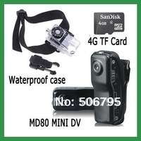 Hot Selling black MD80 Mini DV Player Recorder Hidden Video Camera Mini Camcorder + waterproof case+ 4G Micro Card Free Shipping