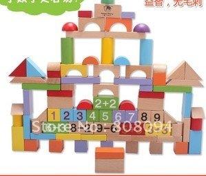Happy matt wooden blocks 88 grain of large bulk children's educational baby toys pile of lap